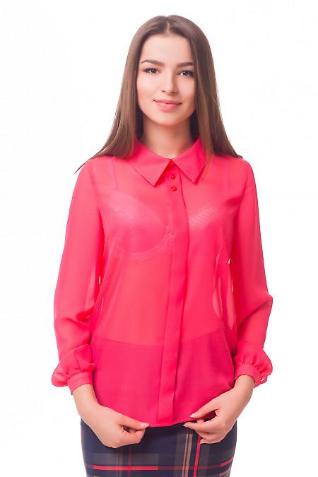 Блузка коралловая с бантовой складочкой Деловая женская одежда