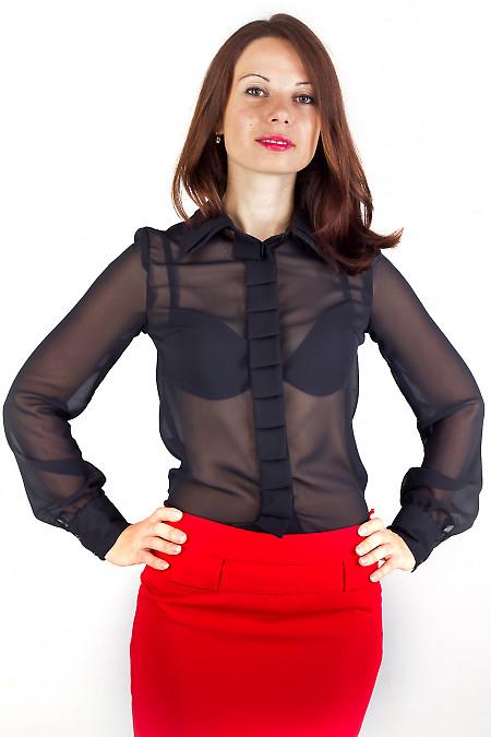 Фото Блузка со складочками по планке черная Деловая женская одежда