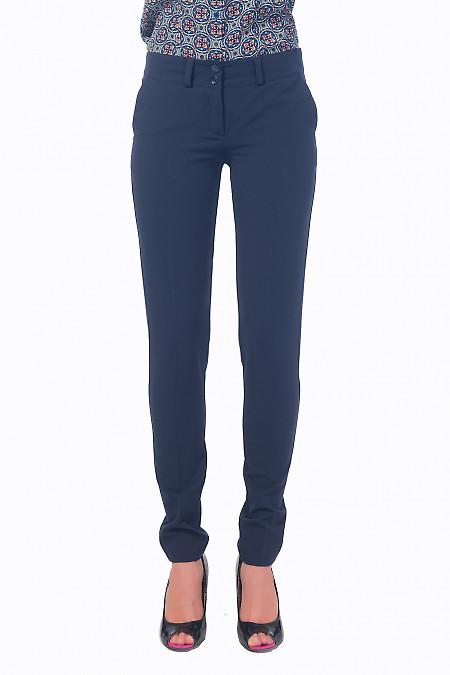 Брюки женские синие со вставкой на кармане Деловая женская одежда