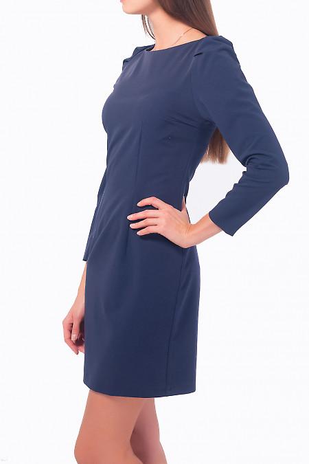 Купить платье синее с длинным рукавом-фонариком Деловая женская одежда