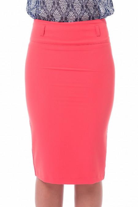 Юбка-карандаш коралловая с высокой талией. Деловая женская одежда