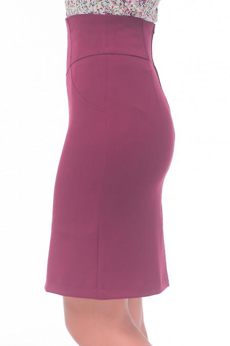 Бордовая юбка из костюмной ткани теплая