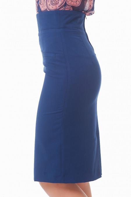 Купить юбку миди синюю с карманами Деловая женская одежда