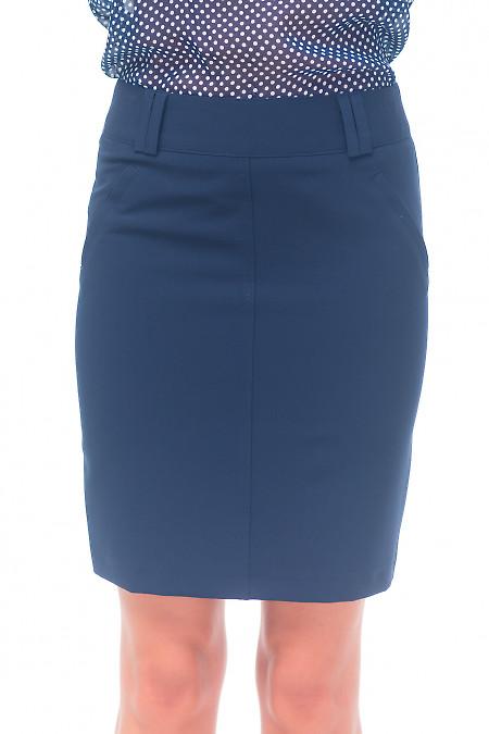 Спідниця синя з кишенями. Діловий жіночий одяг
