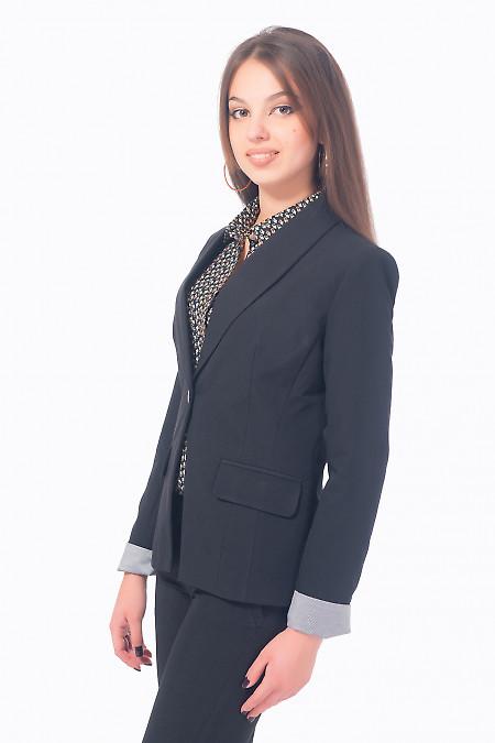 Черный жакет с манжетом из костюмной ткани