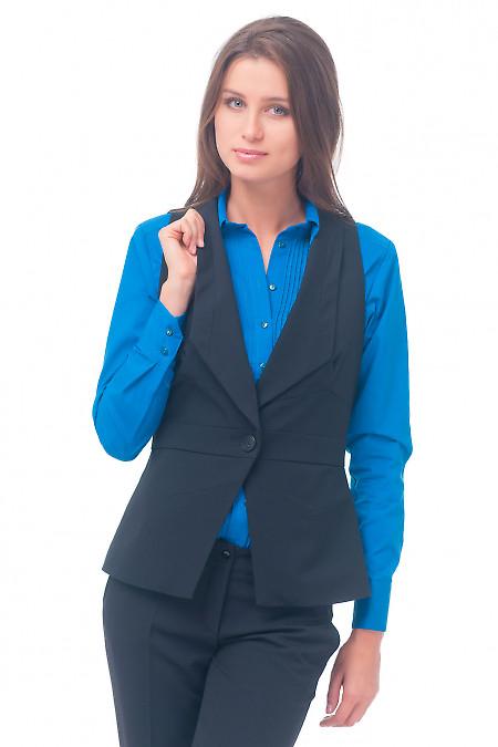 Жилет черный женский удлиненный. Деловая женская одежда