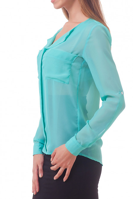 Фото Блузка с накладными карманами  Деловая женская одежда