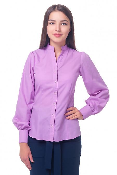 Блузка сиреневая со стойкой. Деловая женская одежда