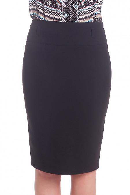 Чорна спідниця-олівець з косою шліцою ззаду. Діловий жіночий одяг