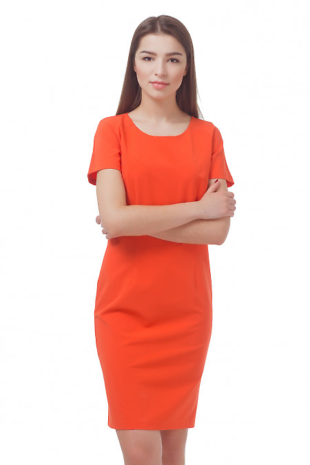 Платье оранжевое с коротким рукавом  Деловая женская одежда