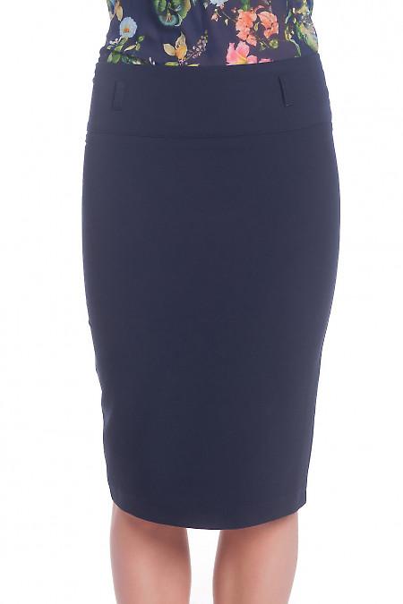 Синяя юбка-карандаш с косой шлицей. Деловая женская одежда