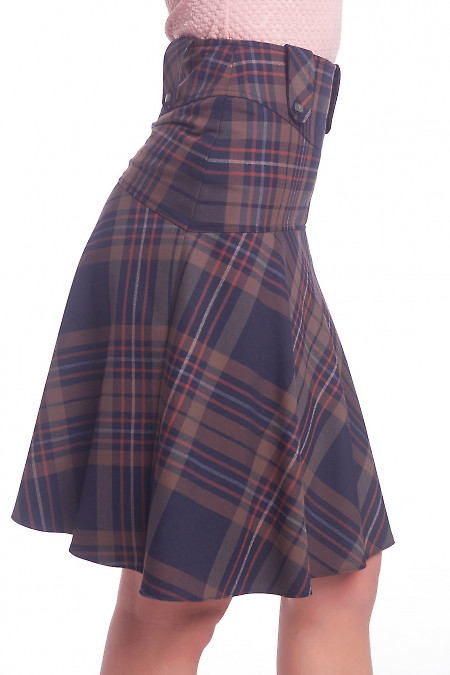 Купить юбку-трапецию в клетку Деловая женская одежда