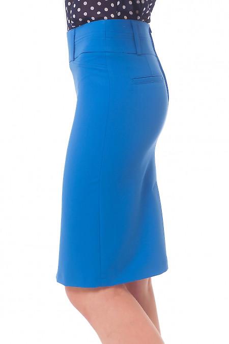 Купить юбку голубую со строчкой на поясе Деловая женская одежда