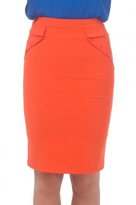 Юбка оранжевая с клапанами. Деловая женская одежда