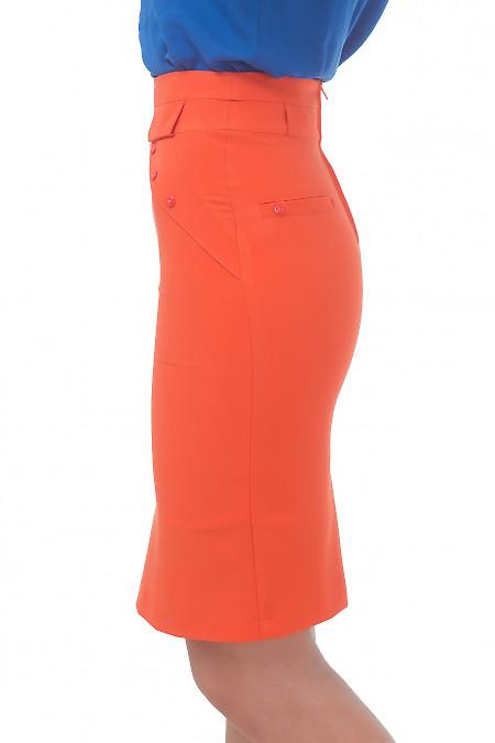 Юбка оранжевая из костюмной ткани