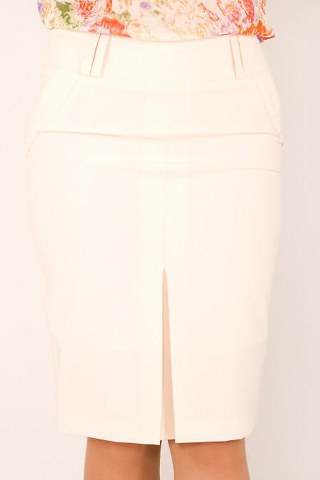 Фото Юбка с бантовой складкой кремовая Деловая женская одежда