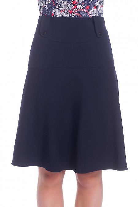 Юбка синяя на широкой кокетке теплая. Деловая женская одежда