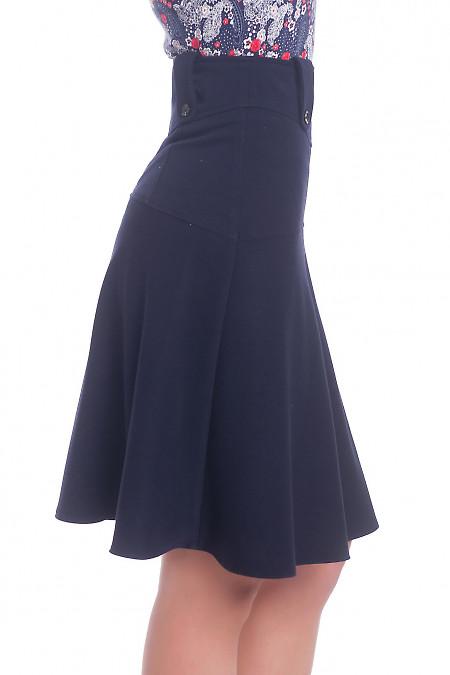 Теплая юбка трапеция синего цвета