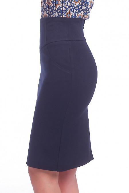 Купить юбку синюю теплую с рельефами Деловая женская одежда