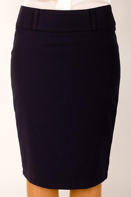 Фото Юбка темно-синяя с бантовой складкой сзади Деловая женская одежда