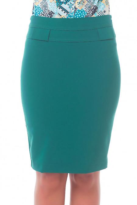 Юбка зеленая с фигурной кокеткой. Деловая женская одежда