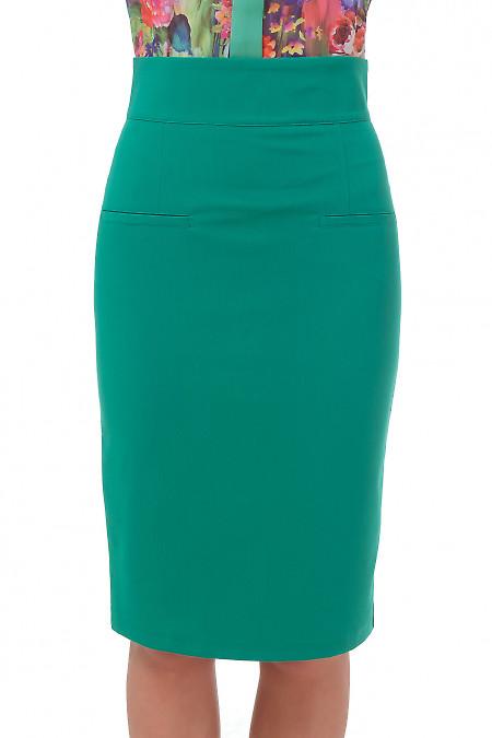Зеленая юбка с высокой талией.  Деловая женская одежда
