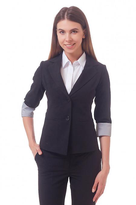 Фото Жакет удлиненный с рукавом три четверти черный Деловая женская одежда
