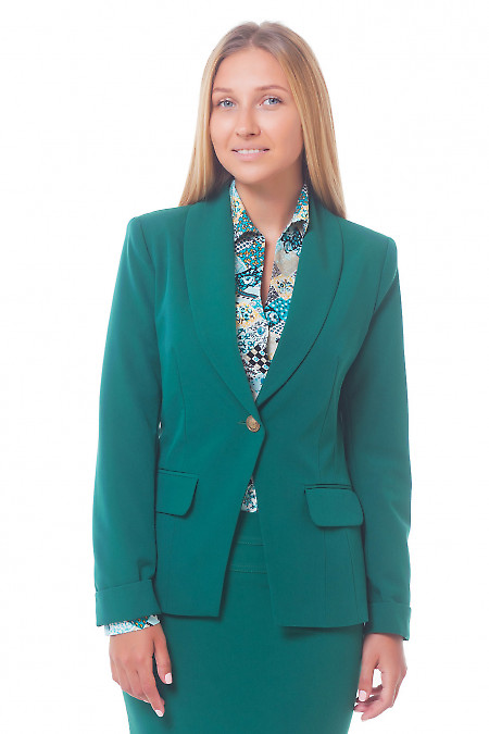 Жакет удлиненный женский зеленый.  Деловая женская одежда