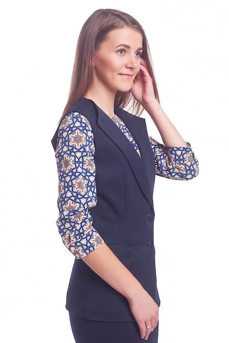 Синий женский удлиненный жилет