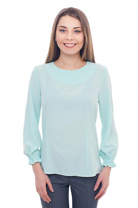 Блуза бірюзова з гумкою на рукавах. Діловий жіночий одяг