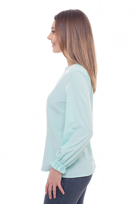 Бирюзовая блузка с круглым вырезом горловины