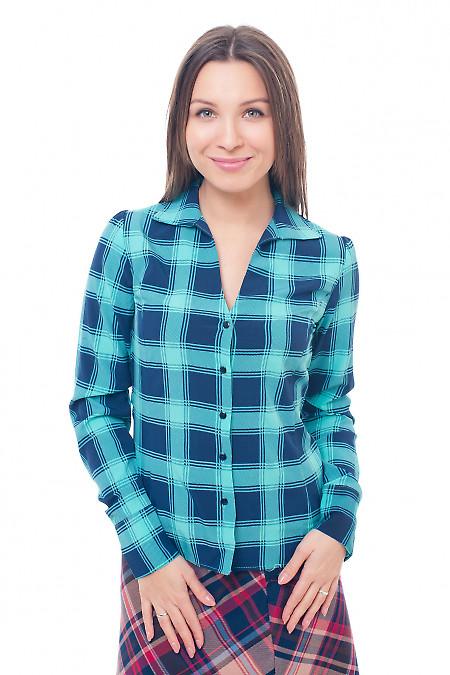 Блузка бирюзовая в синюю крупную клетку Деловая женская одежда фото