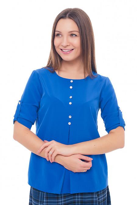 Блузка электрик со встречной складкой Деловая женская одежда