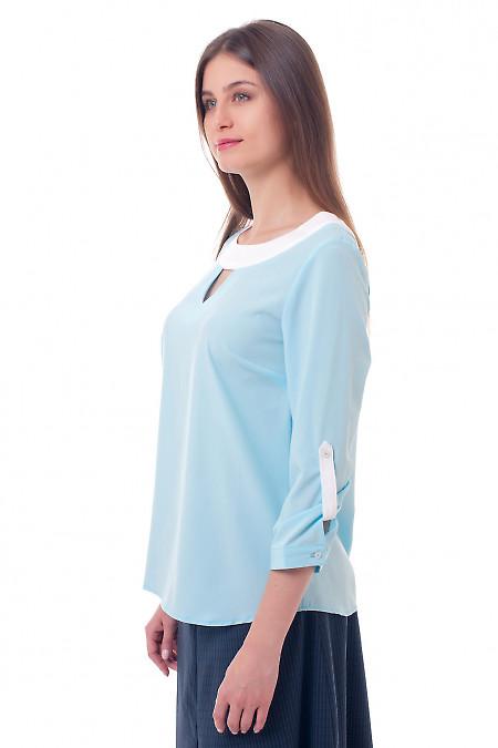 Купить голубую блузку с белой горловиной Деловая женская одежда фото