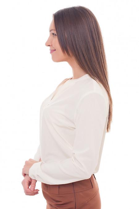 Купить молочную блузку с резинками сбоку Деловая женская одежда фото