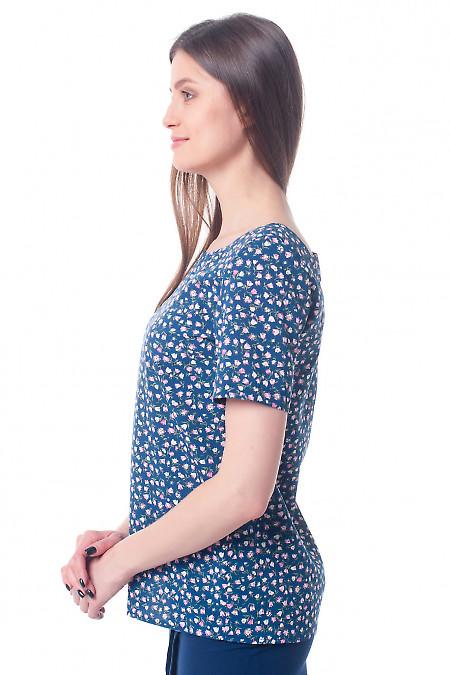 Купить блузку синюю с вырезом на спине Деловая женская одежда фото