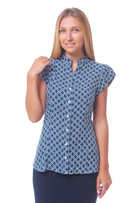 Блузка синяя в белый ромбик Деловая женская одежда