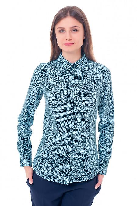 Блузка синяя в бирюзовый ромб. Деловая женская одежда фото