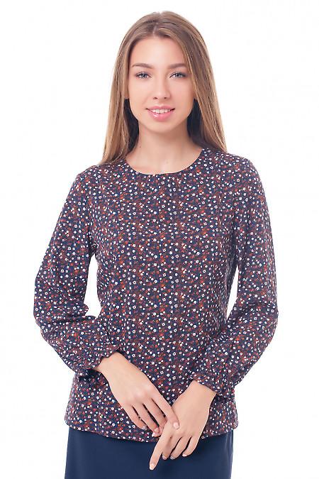 Блузка темно-синяя с резинкой на рукавах Деловая женская одежда фото