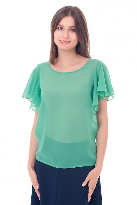 Блузка зеленая с крылышками. Деловая женская одежда фото