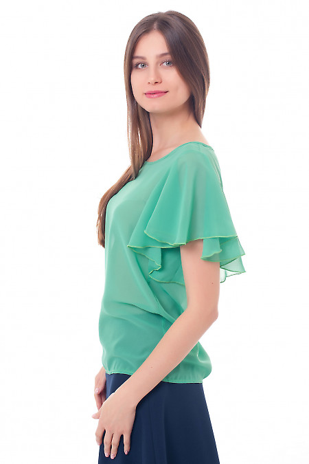 Блуза из зеленого шифона с крылышками