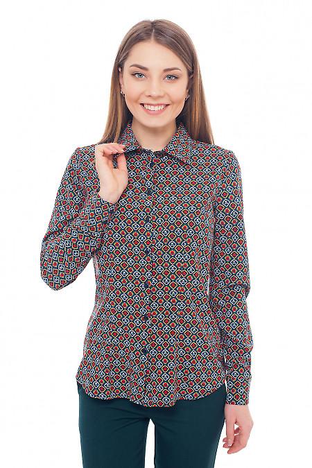 Блузка зелёная с красным узором. Деловая женская одежда