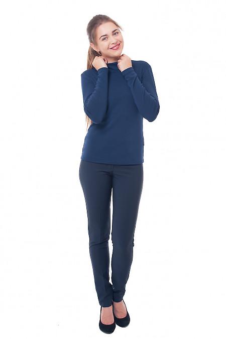 Купить брюки синие на флисе без карманов Деловая женская одежда фото