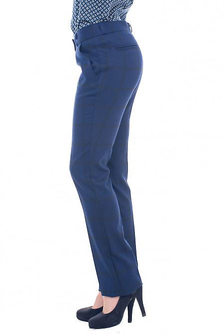 Купить брюки синие в черную крупную клетку Деловая женская одежда фото