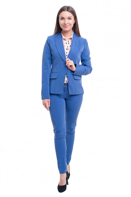 Завужені блакитні брюки під джинс фото