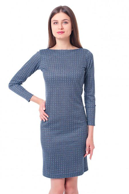 Платье синее в мелкую ромашку Деловая женская одежда фото