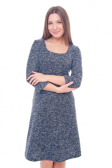 Платье синее теплое с юбкой-трапецией Деловая женская одежда фото