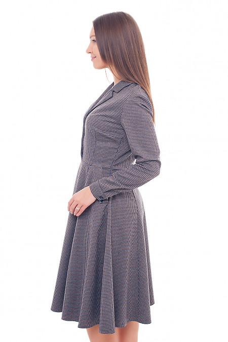 Купить платье теплое в коричневую лапку Деловая женская одежда фото