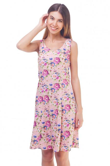 Розовый летний сарафан в розы. Деловая женская одежда