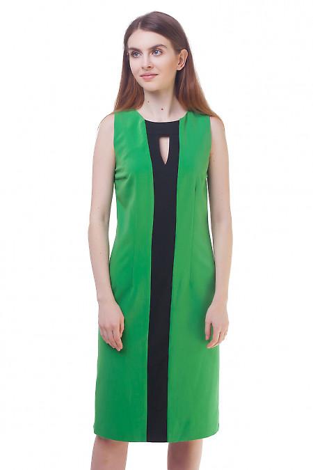 Сарафан зеленый с черной вставкой. Деловая женская одежда